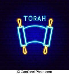 Torah Neon Label. Vector Illustration of Jewish Promotion.