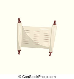 Torah sacred scroll, Jewish ancient papyrus vector Illustration on a white background