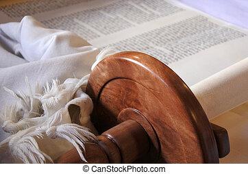 Torah scroll background - Selective focus of Torah scroll....