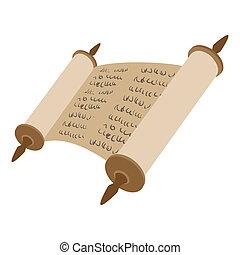 Torah scroll cartoon icon on a white background