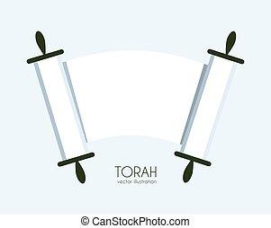 Torah scroll icon - Jewish Torah scroll icon. isolated...