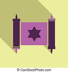 Torah scroll icon in flat style. Jewish Torah in expanded form. Flat illustration Torah Book, Jewish Torah, law Books. Simple old parchment scroll with the text. Symbol old scroll.Star of David