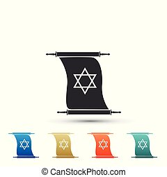 Torah scroll icon isolated on white background. Jewish Torah in expanded form. Torah Book sign. Star of David symbol. Simple old parchment scroll. Colored icons. Flat design. Vector Illustration