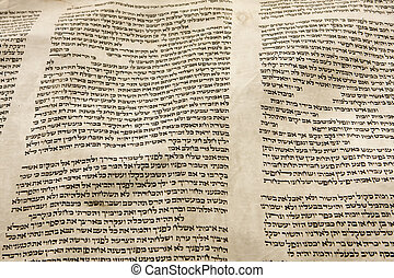 Torah Scroll Parchment - A part of the Hebrew text from a...