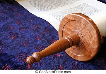 Torah scroll - Selective focus of Torah scroll. Jewish...