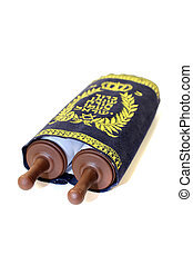 Torah scroll with cover on bright background