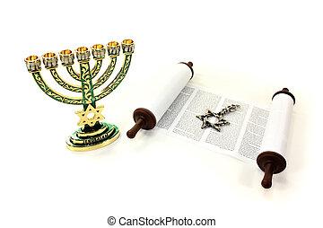 Torah scroll with menorah and Star of David on a light...