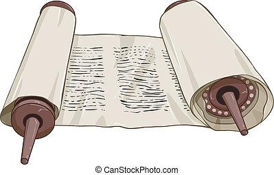 torah, tekst, traditionelle, scroll, jødisk