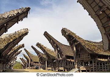 Toraja traditional village housing in Indonesia, Sulawasi