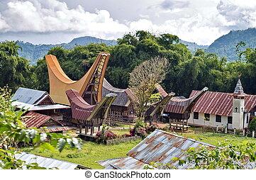 Toraja traditional village housing in Indonesia Sulawasi