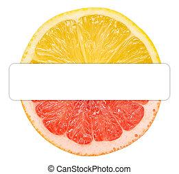 toranja, limão, metade