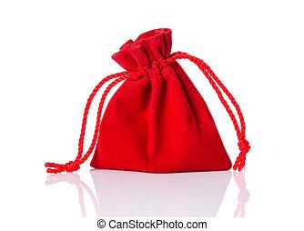 torba, biały, odizolowany, czerwony
