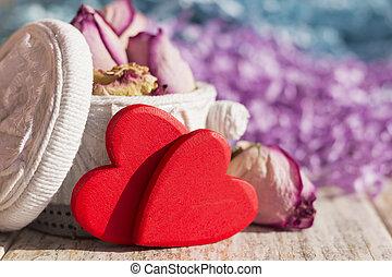 torba, handmade, dwa, róże, jasny, zasuszony, serca, czerwony