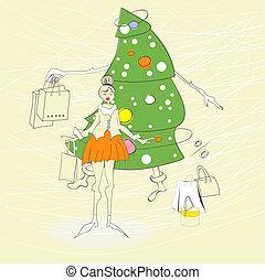 torba, kobieta shopping