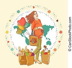 torba, kobieta shopping, młody, brzemienny