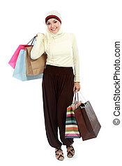 torba, kobieta shopping, młody, muslim