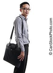 torba, laptop, człowiek, młody, asian