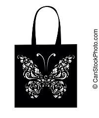 torba na zakupy, projektować, rocznik wina, motyl