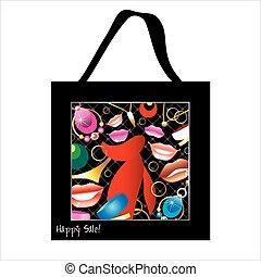 torba na zakupy, projektować, z, kobieta, biżuteria