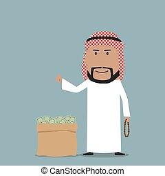 torba, pełny, arabski, biznesmen, pieniądze