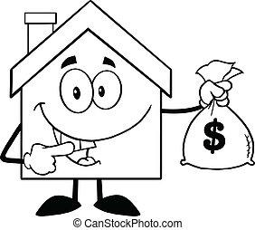 torba pieniędzy, dzierżawa, dom