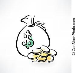 torba pieniędzy, grunge, ikona