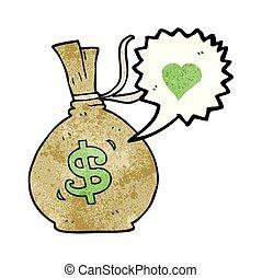 torba pieniędzy, mowa, textured, bańka, rysunek