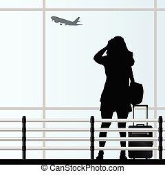 torba, podróż, wektor, lotnisko, dziewczyna
