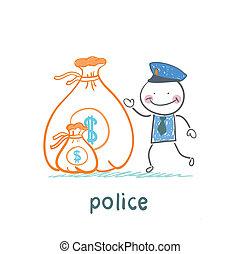 torba, policja, stoi, pieniądze