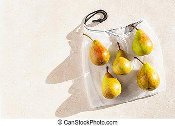 torba, tracić, nylon, zero, owoce, oczko, wolny, plastyczne ...