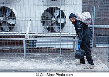 torba, ulica, miasto, człowiek, bezdomny