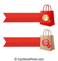 torba, wstążki, etykieta