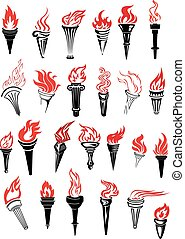 torce, fiammeggiante, rosso, fiamme