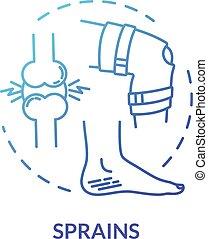 torceduras, tendón, traumas, concepto, icono