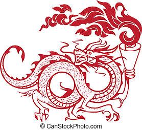 Torch Bearing Dragon - Asian style guardian dragon carrying...