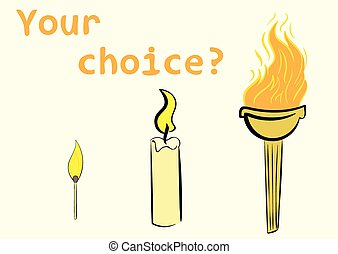 Torch candle and matchstick