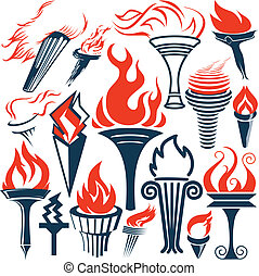 Torch Collection - Clip art of various torch symbols and...