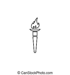 Torch flame line icon black on white background
