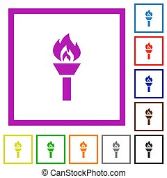 Torch flat framed icons - Torch flat color icons in square ...
