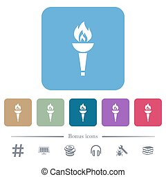 Torch flat icons on color rounded square backgrounds
