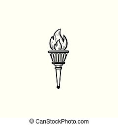 Torch hand drawn outline doodle icon.
