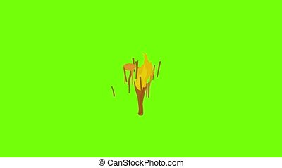 Torch icon animation cartoon object on green screen background