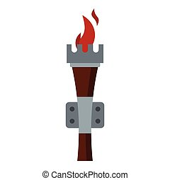 Torch icon, flat style