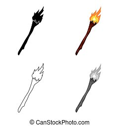 Torch icon in cartoon style isolated on white background.