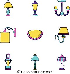 Torch icons set, cartoon style