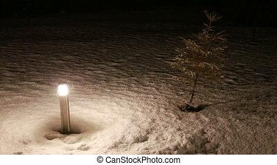 torch in falling snow Full HD