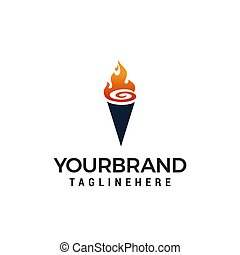 torch logo design concept template