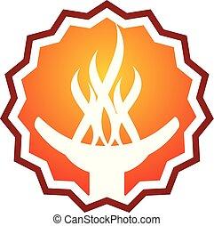 Torch Logo Design Template Vector