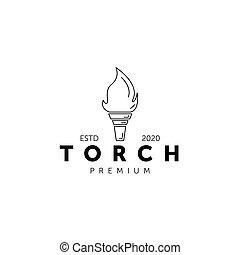 torch logo line art vector illustration design