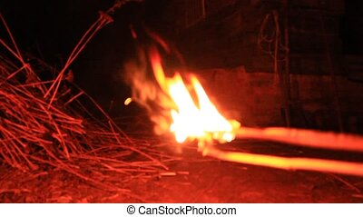 Torch made from straw beam. Abstract movement. Abstract...